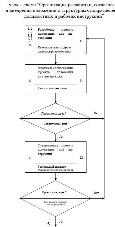 блок схема организации разработки, согласования и внедрения положений, должностных и рабочих инструкций