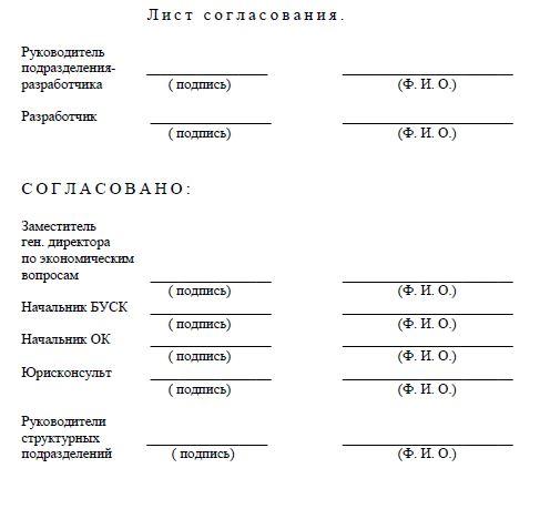 лист согласования стп