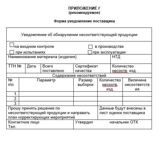 Форма уведомления поставщика входного контроля