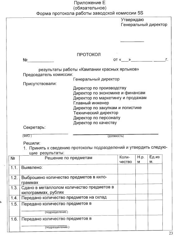 форма протокола работы заводской комиссии 5S