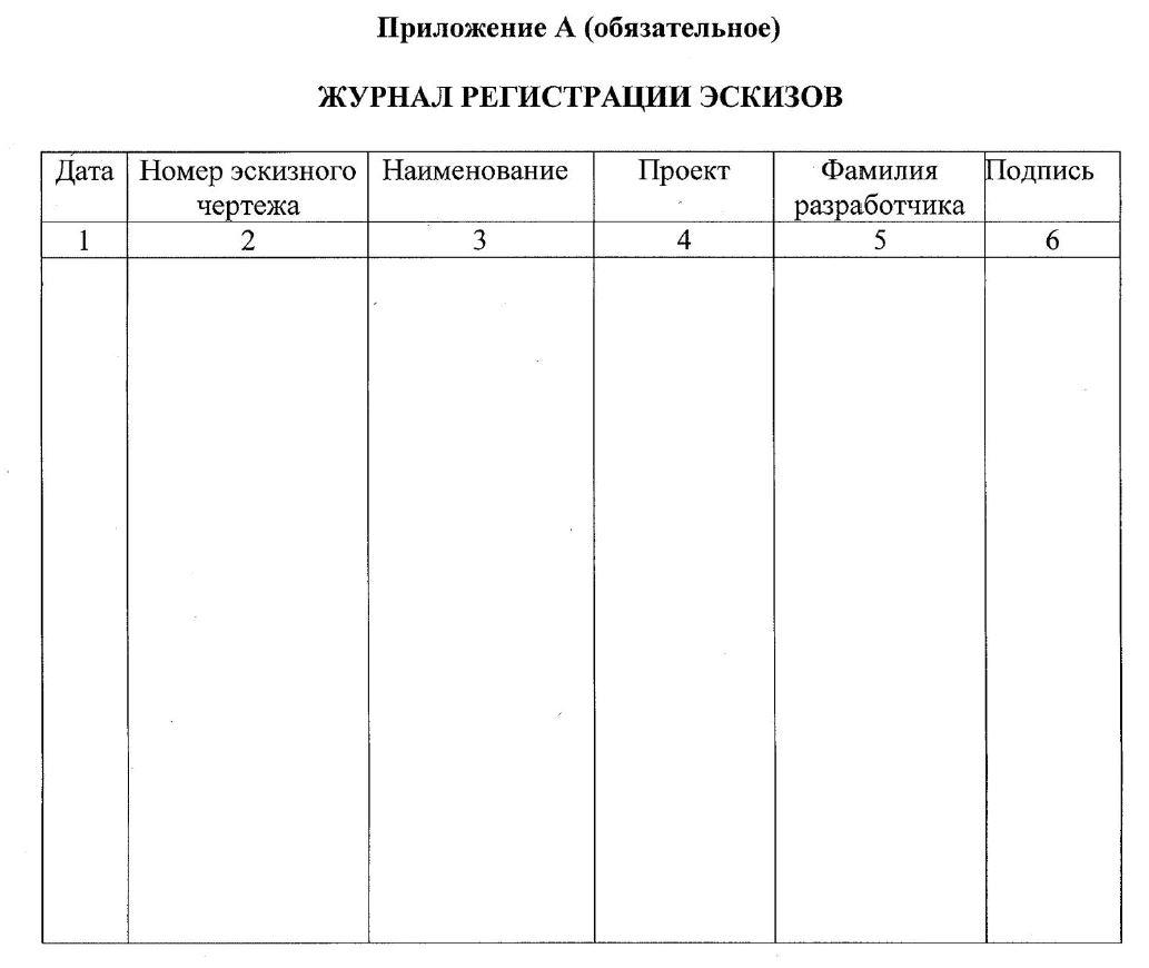 образец журнала регистрации эскизов
