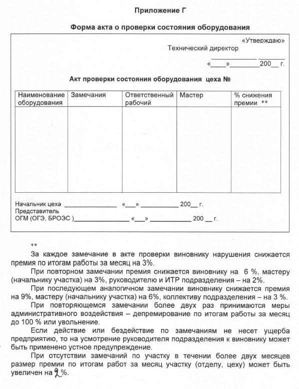 Форма акта о проверки состояния оборудования