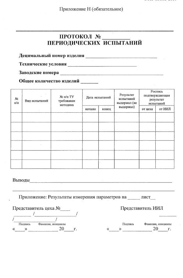 Протокол периодических испытаний