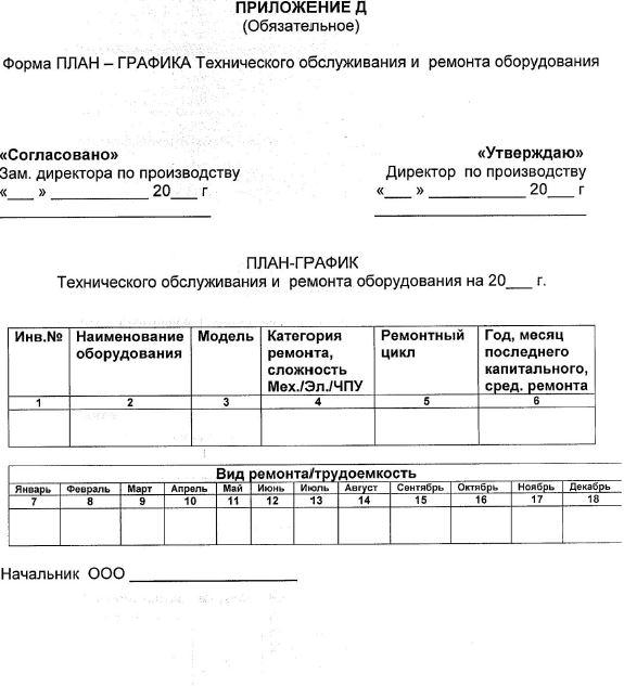 План график технического обслуживания и ремонта оборудования