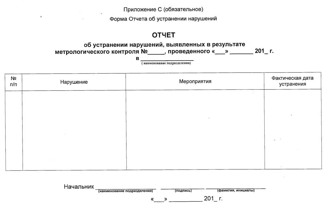 Отчет об устранении нарушений, выявленных в результате метрологического контроля