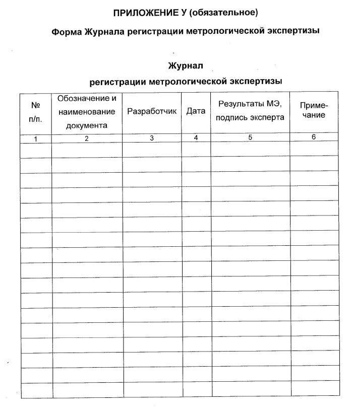 Форма журнала регистрации метрологической экспертизы