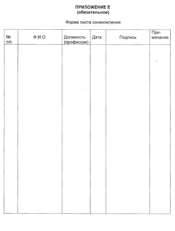 Форма листа ознакомления