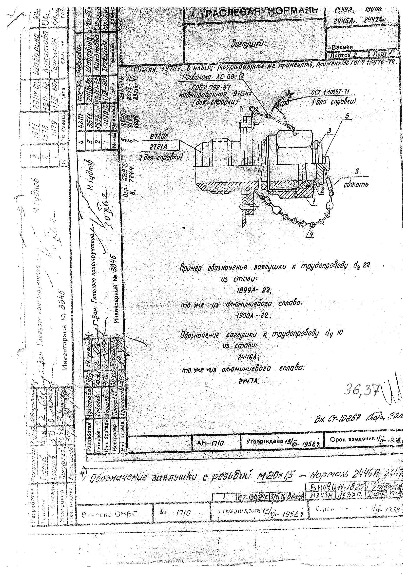 1899А, 1900А, 2446А, 2447А Заглушки